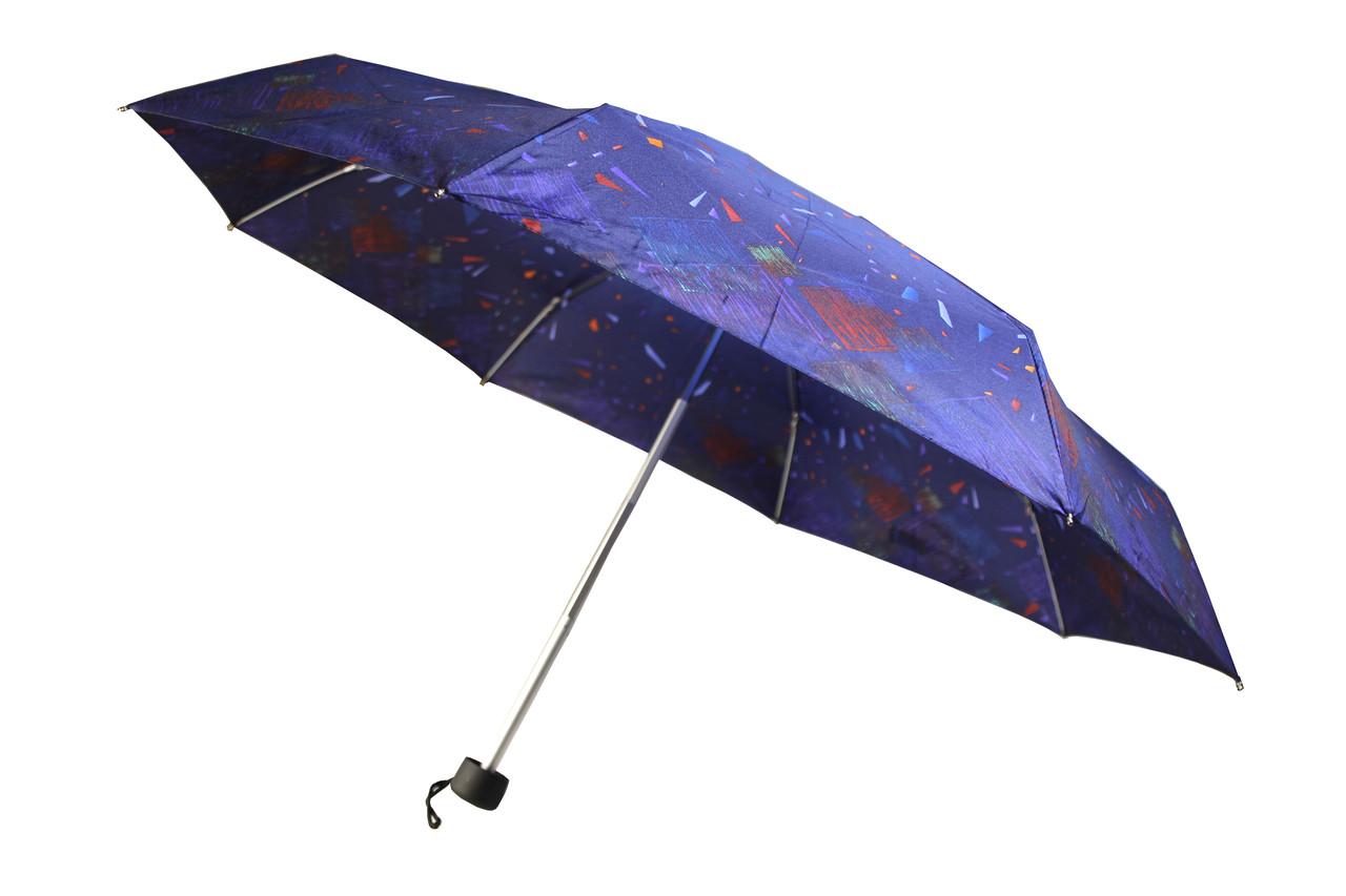 Компактный женский зонт механика синего цвета (15776)