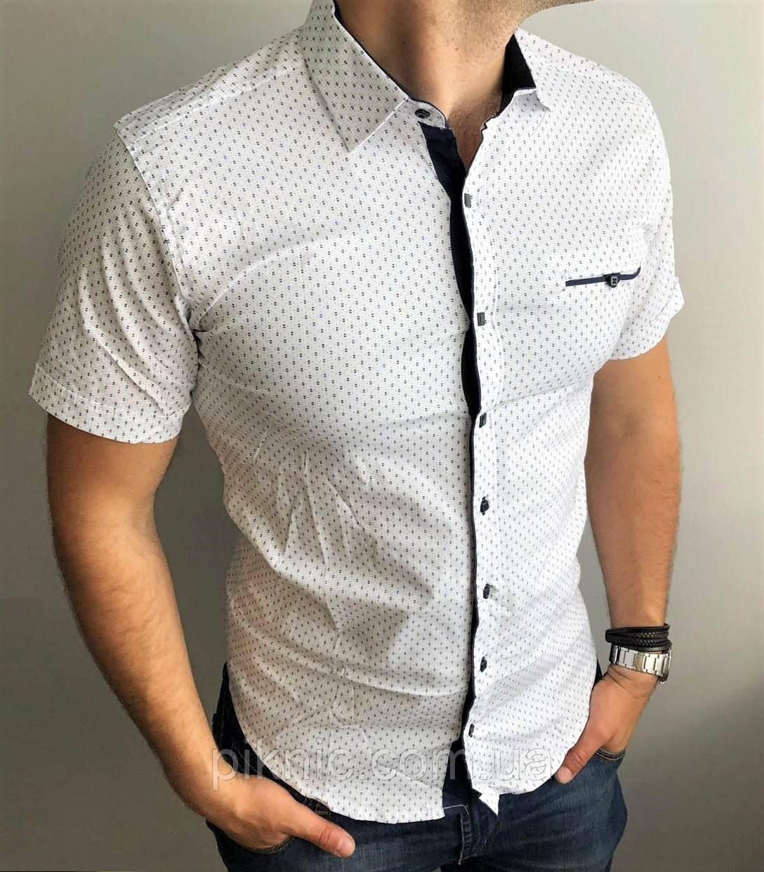 Рубашка мужская XXL (50) приталенная короткий рукав слим фит Турция. Молодежная турецкая Белый