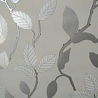"""Обои """"Ветви деревьев с листьями"""" кремовые с серым в гостиную, 0,53 Х 10 – P+S 18186-50"""