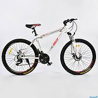 """Велосипед спортивный 26""""дюймов, WHITE-RED, 21 скорость, рама металлическая 17"""", CORSO K-Rally 0010 - 8345"""