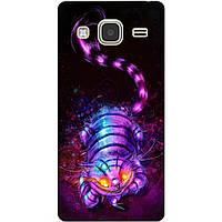 Чехол силиконовый бампер для Samsung Galaxy J3 J300 с рисунком Чеширский кот