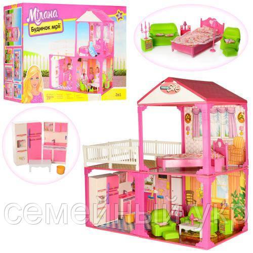 Кукольный домик с мебелью. Размер 81х82х40.5 см.