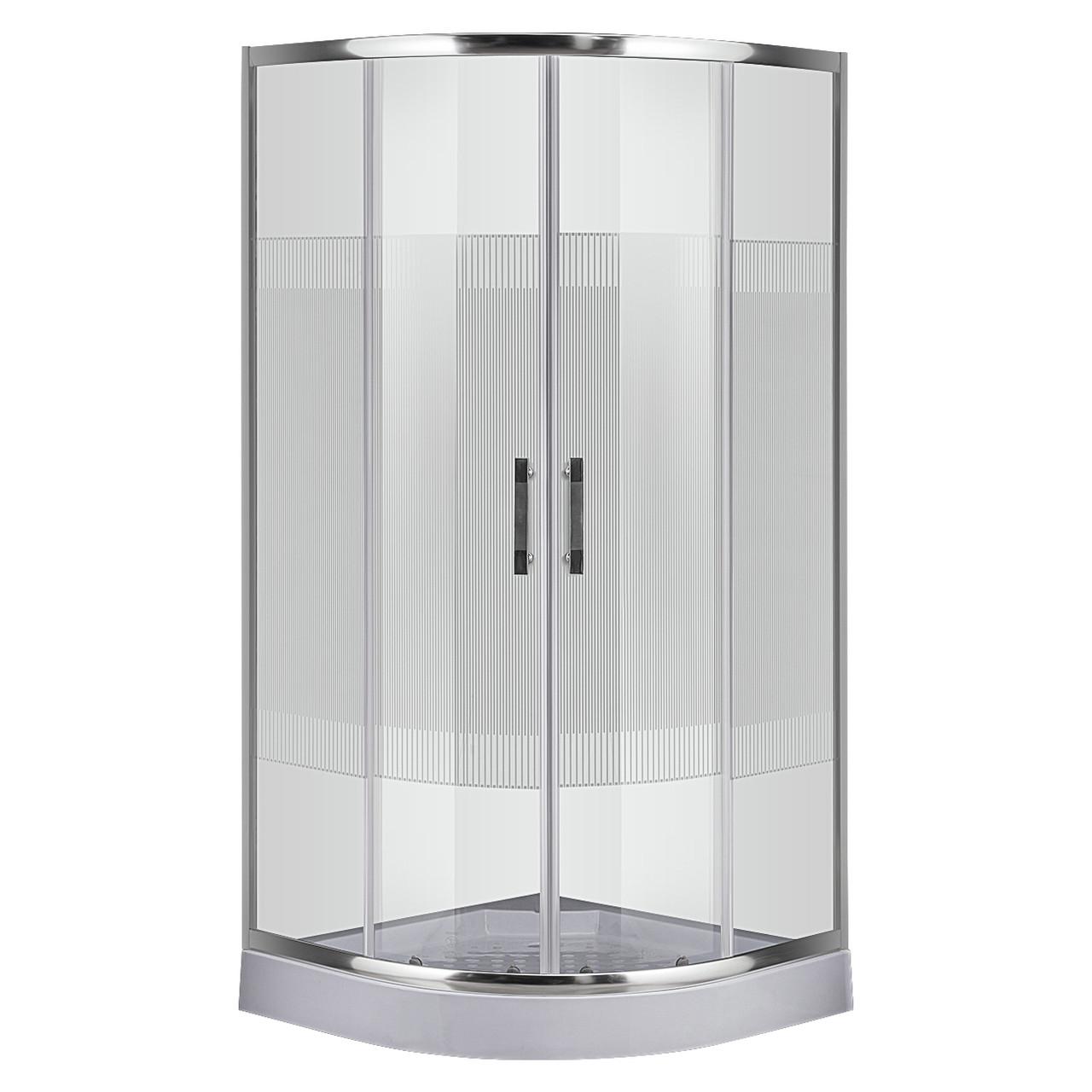 Душевой угол Sansa SH-90/15, профиль brushed, стекло прозрачное-lines
