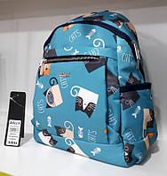 Рюкзак женский тканевый маленький голубой в милых Котиках модный городской удобный Dolly 386 25х35х15 см