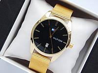 Кварцові наручні годинники Tommy Hilfiger золотистого кольору з чорним циферблатом, з датою, фото 1