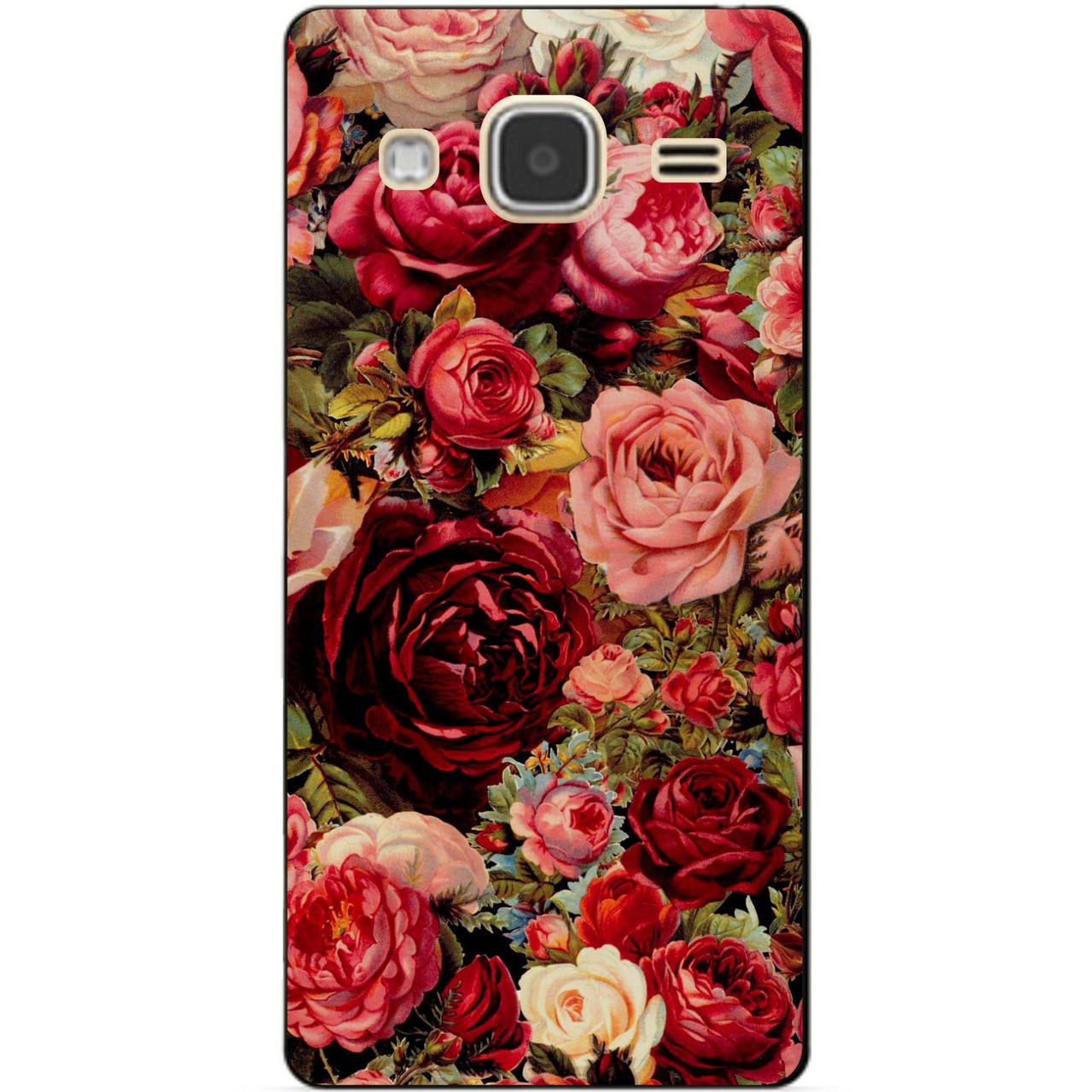 Чехол силиконовый бампер для Samsung Galaxy J3 J300 с рисунком Розы