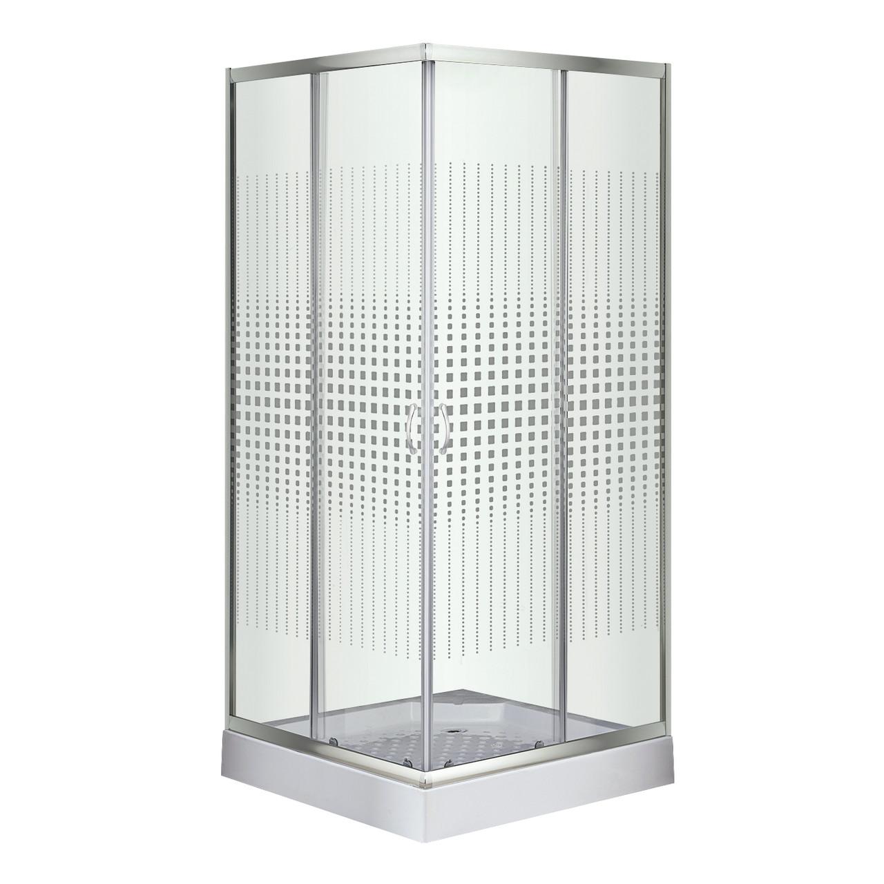 Душевой угол Sansa S-90S/15, профиль сатин, стекло прозрачное-мозаик
