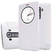 Кожаный чехол книжка Nillkin Sparkle для LG G4 белый