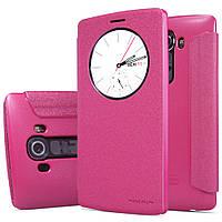 Кожаный чехол книжка Nillkin Sparkle для LG G4 розовый, фото 1
