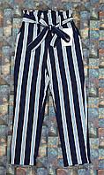Штаны брюки детские для девочки в полоску  128,134,140,146,152см темно-синие+голубие