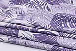 """Ткань хлопковая """"Листья монстеры и пальмы"""" большие, сиреневые на белом №2270, фото 7"""