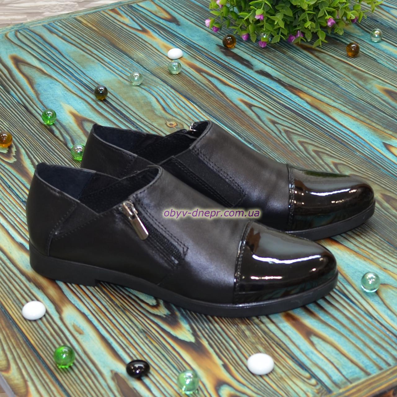 Туфли женские черные на молнии, на низком ходу, из натуральной кожи и лаковой кожи