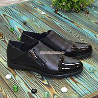 Туфли женские черные на молнии, на низком ходу, из натуральной кожи и лаковой кожи, фото 1