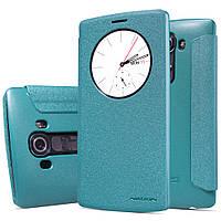 Кожаный чехол книжка Nillkin Sparkle для LG G4 бирюзовый, фото 1