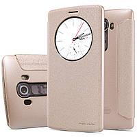 Кожаный чехол книжка Nillkin Sparkle для LG G4 золотистый, фото 1