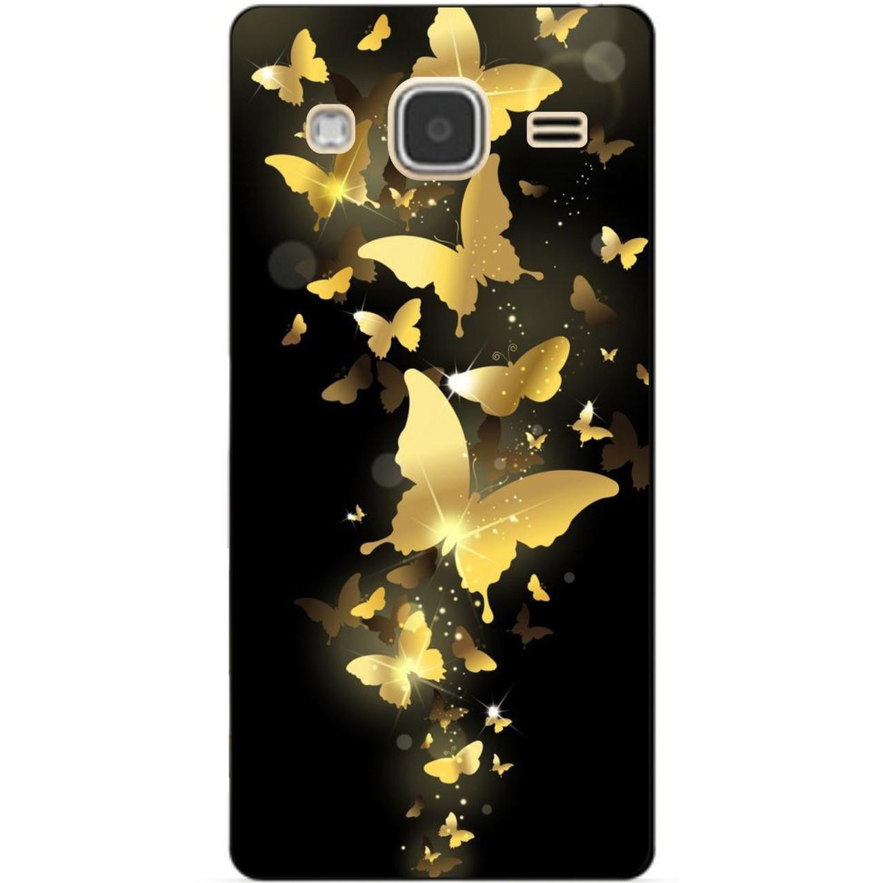 Чехол силиконовый бампер для Samsung Galaxy J3 J300 с рисунком Золотые бабочки