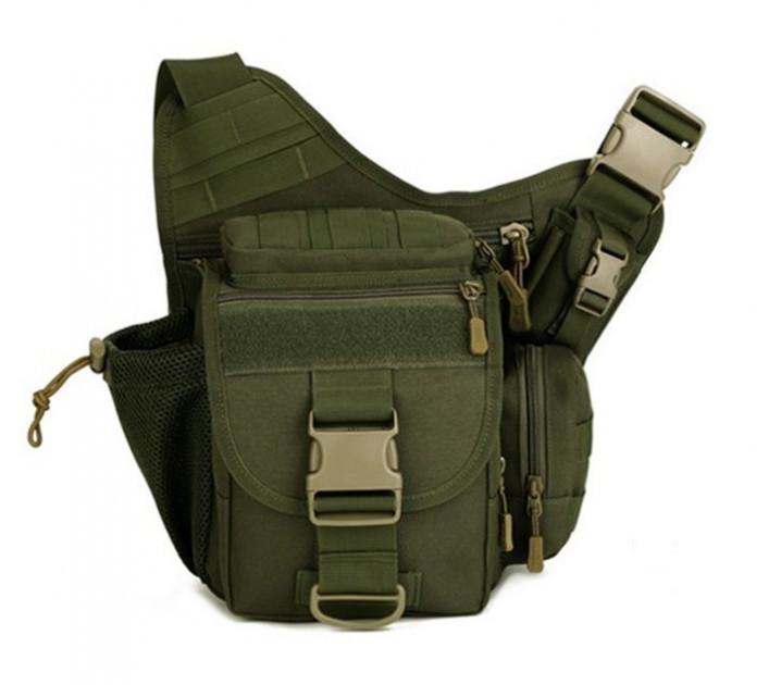 Тактическая сумка мужская через плечо, штурмовая, военная, армейская. рюкзак Oxford 600D зеленая