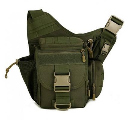 Тактическая сумка мужская через плечо, штурмовая, военная, армейская. рюкзак Oxford 600D зеленая, фото 2