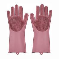🔝 Перчатки силиконовые для мытья посуды хозяйственные для кухни Magic Silicone Gloves светло-розовые | 🎁%🚚