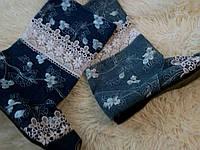 Джинсовые женские стильные сапожки с открытым носком  и кружевной вставкой (41 размер). Арт-0168, фото 1