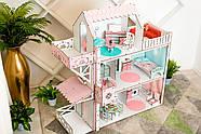 Кукольный домик для Барби NestWood Люкс плюс с лифтом без мебели розовый (kdb002), фото 5