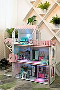 Кукольный домик для Барби NestWood Люкс плюс с лифтом без мебели розовый (kdb002), фото 7