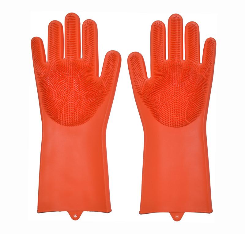 Перчатки силиконовые для мытья посуды хозяйственные для кухни Magic Silicone Gloves оранжевые