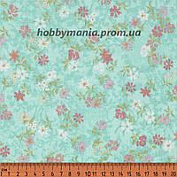 Мелкие цветы на нежно-голубом фоне, розовые, белые, винтаж, ткань хлопковая. FLO-7