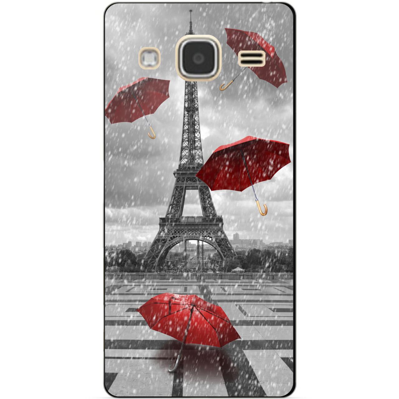 Чехол силиконовый бампер для Samsung Galaxy J3 J300 с рисунком Дождь в Париже