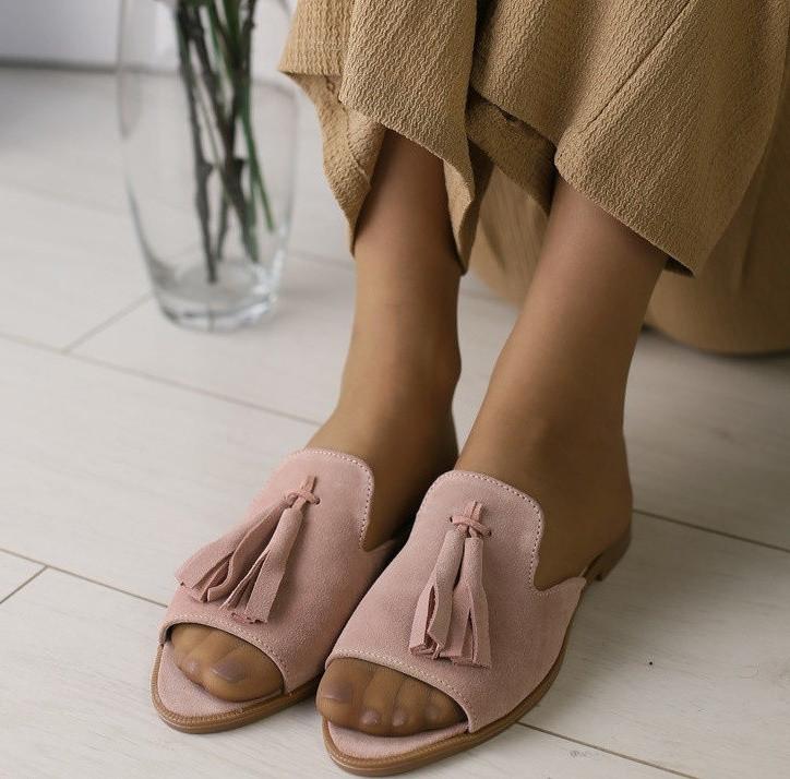 dd3a89faf Модные женские замшевые шлепанцы шлепки мюли сабо на низком ходу без  каблука пудра IN31VR33-1SE