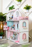Кукольный домик для Барби NestWood Люкс с лифтом без мебели розовый (kdb003), фото 6