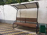 Лавочки, скамейки уличные с навесом (металл+дерево), 2000х500, Хмельницкий, доставка по Украине