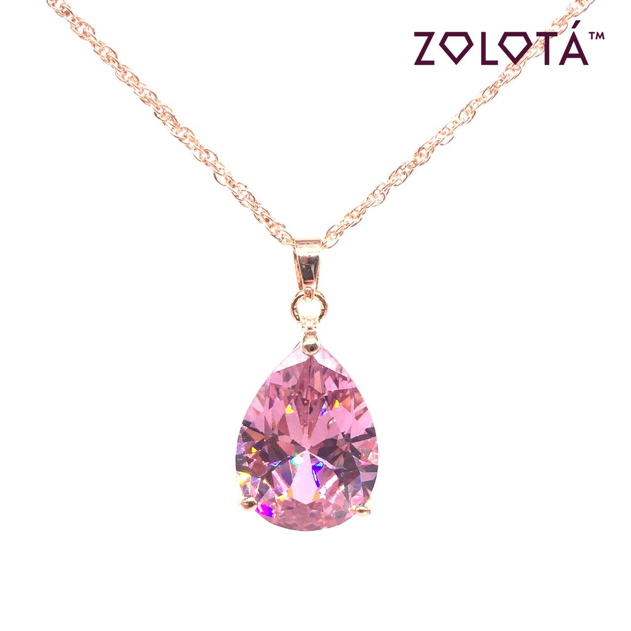Подвеска на цепочке с нежно-розовым фианитом (куб. цирконием), из медицинского золота, в позолоте, ЗЛ00307 (1)