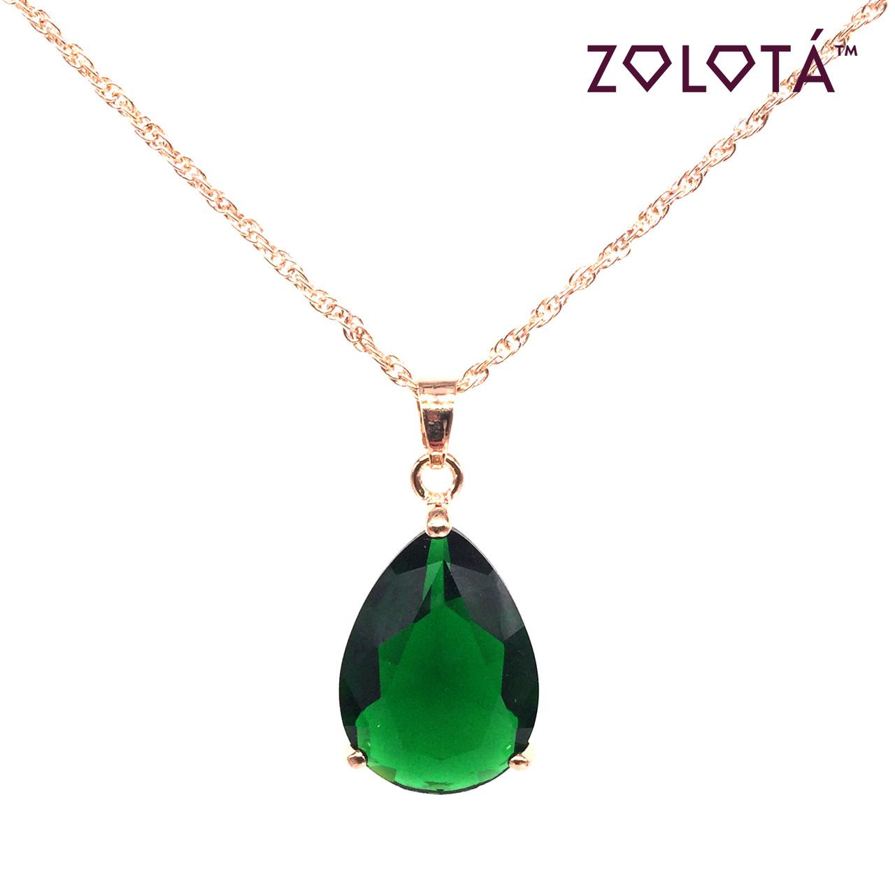 Подвеска на цепочке с зеленым фианитом (куб. цирконием), из медицинского золота, в позолоте, ЗЛ00306 (1)