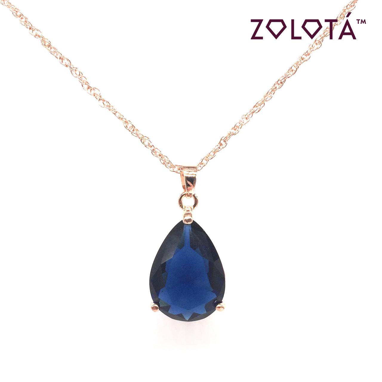 Подвеска на цепочке с синим фианитом (куб. цирконием), из медицинского золота, в позолоте, ЗЛ00305 (1)