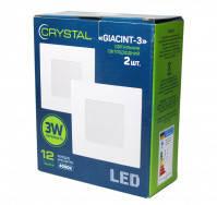 Светильник потолочный квадратный Crystal GIACINT 3W (30Вт), упаковка 2 шт