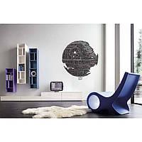 Интерьерная виниловая наклейка на стену IdeaX The Death Star, Space wars 90х96 см Черная