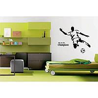 Интерьерная виниловая наклейка на стену IdeaX Football player 70х55 см Черная