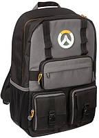 JINX Overwatch MVP Laptop Backpack, Black/Grey