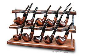 Двухъярусная подставка для 10 курительных трубок из дерева ясеня