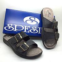Мужские ортопедические кожаные шлепанцы SPESITA  | обувь со стелькой vera pelle | размеры 41-46