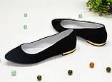 Женские замшевые туфли-балетки с заостренным носком., фото 2