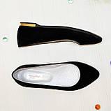 Женские замшевые туфли-балетки с заостренным носком., фото 4