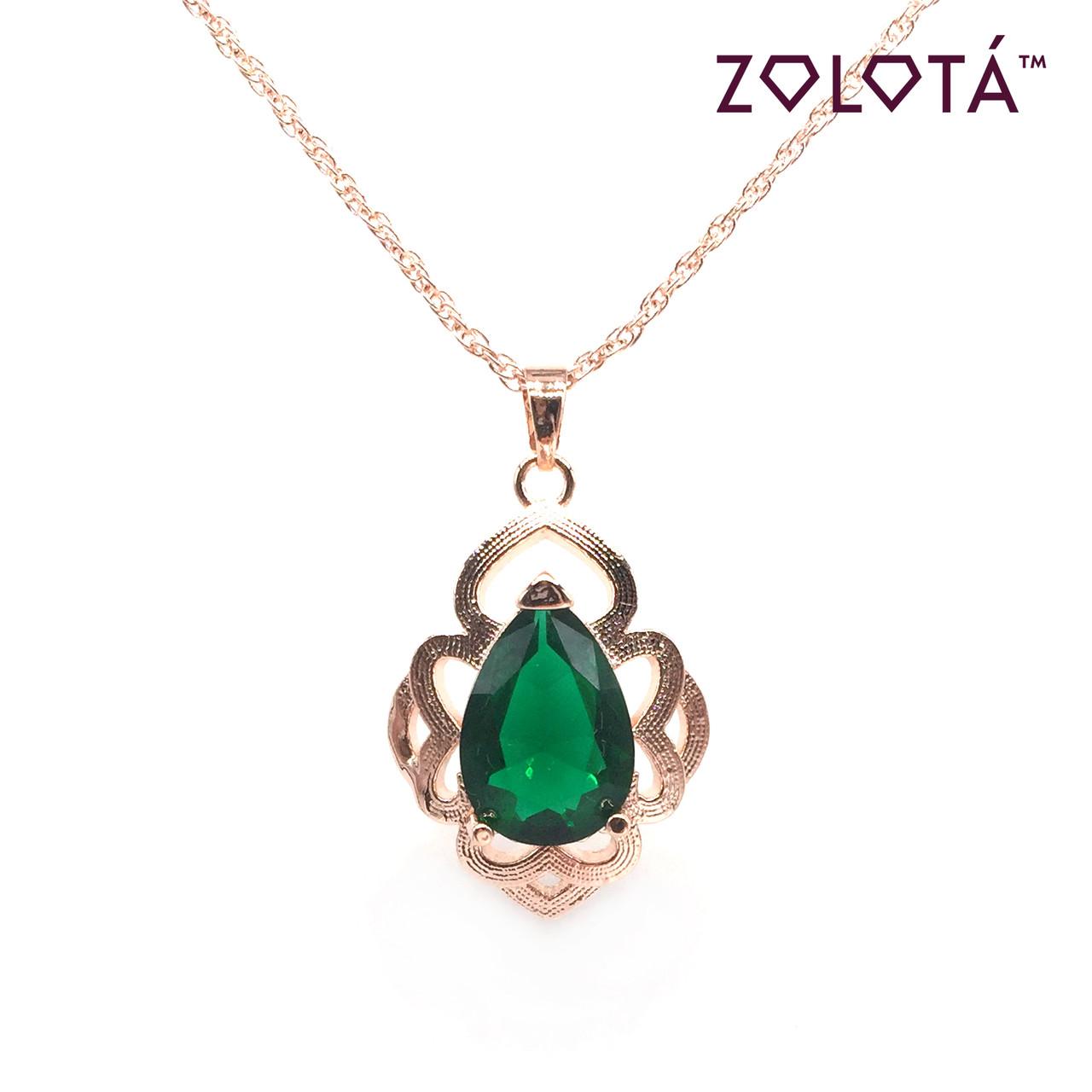 Подвеска на цепочке с зеленым фианитом (куб. цирконием), из медицинского золота, в позолоте, ЗЛ00314 (1)