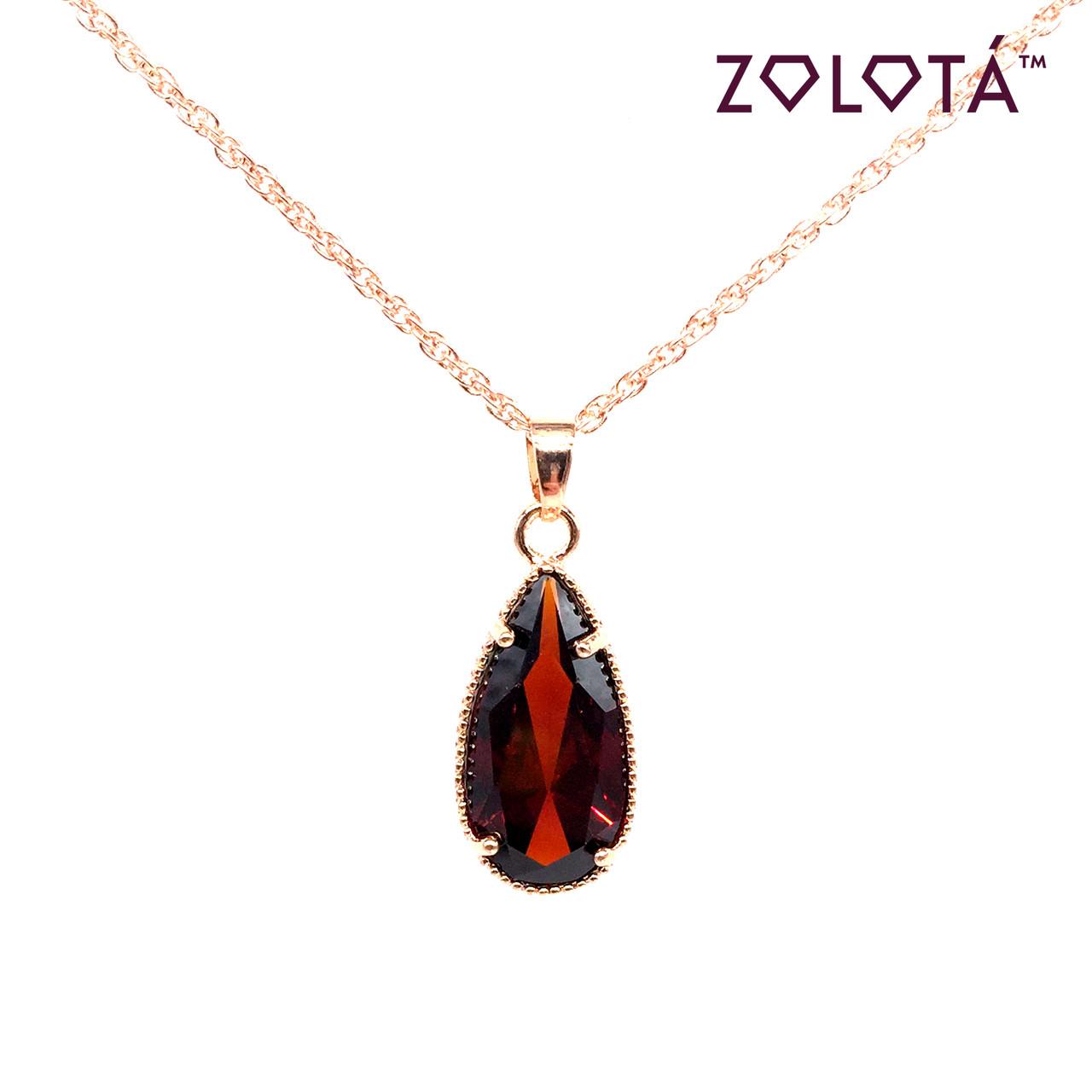Подвеска на цепочке с темно-красным фианитом (куб. цирконием), из медицинского золота, в позолоте, ЗЛ00317 (1)