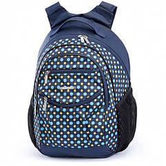 Шкільний синій рюкзак в горох (ортопедичний) / Школьный синий портфель в горох (ортопедический)