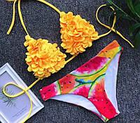 Раздельный женский купальник желтого цвета на завязках , фото 1