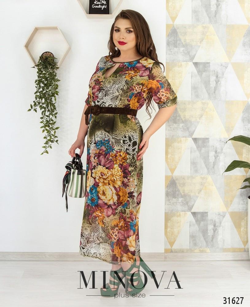 Платье макси в яркий цветочный принт Большого размера шифон Хаки