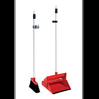 Уборочный комплект для подметания: совок на ручке + метёлка + крючок. Ширина веника - 25 см (VDM 4040)