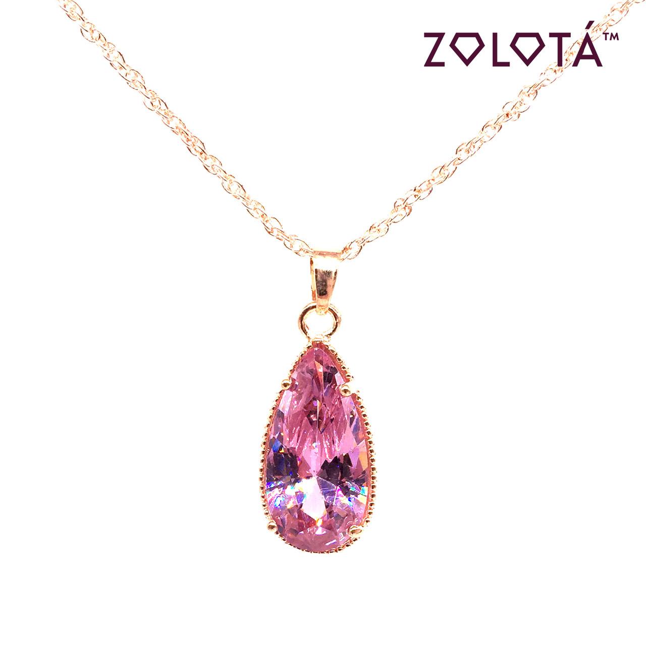 Подвеска на цепочке с розовым фианитом (куб. цирконием), из медицинского золота, в позолоте, ЗЛ00320 (1)